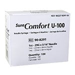 "SureComfort U-100 Syringes 1cc, 29G, 5/16"" - Blister Pack - 100ct thumbnail"