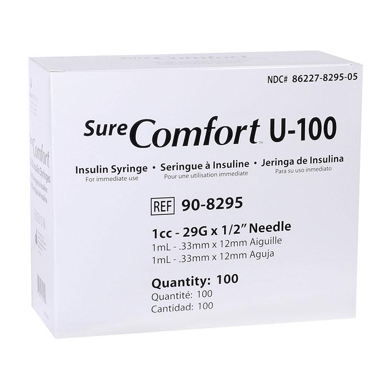 SureComfort U-100 Syringes 1cc, 29G, 1/2