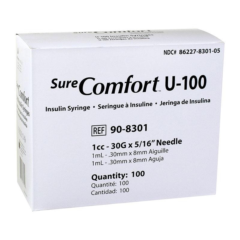 SureComfort U-100 Syringes 1cc, 30G, 5/16
