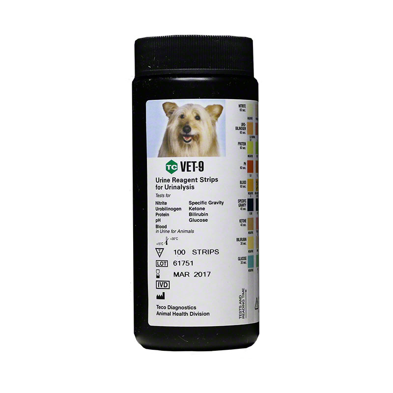 Teco 9 Urine Reagent Test Strips For Cats & Dogs