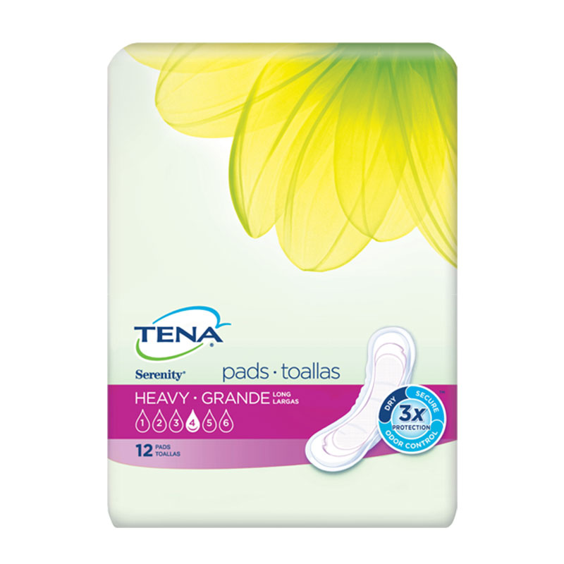 TENA Serenity Ultra Plus Pads, Long, Heavy - 72/case