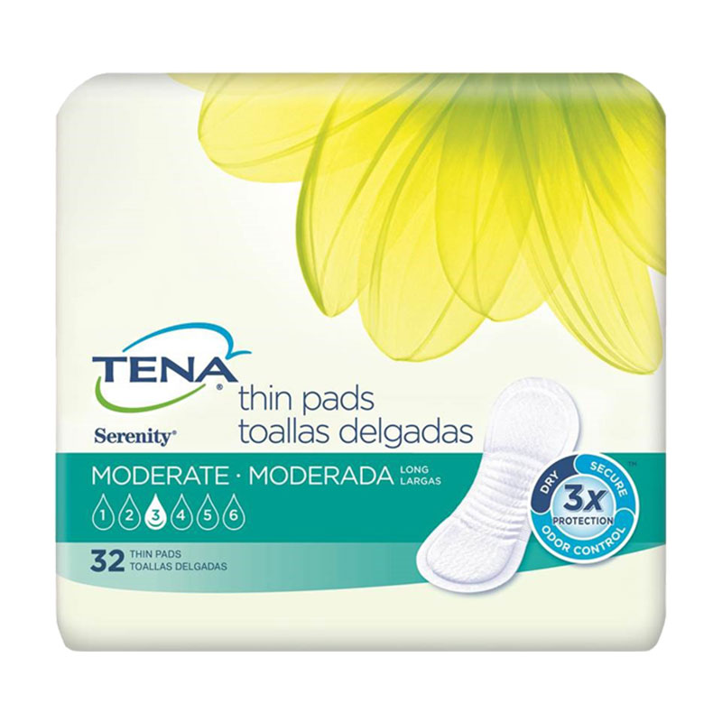 TENA Serenity Thin Pads, Long, Moderate - 128/case