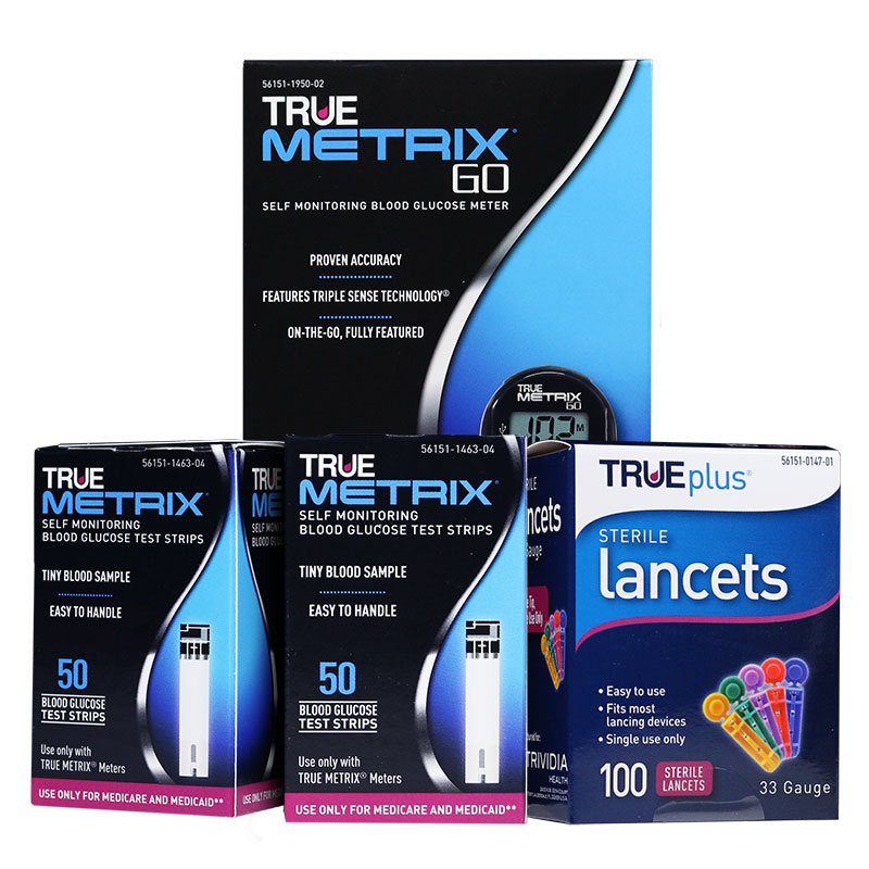 TRUE METRIX GO Blood Glucose Meter With 100 Strips and 33G Lancets