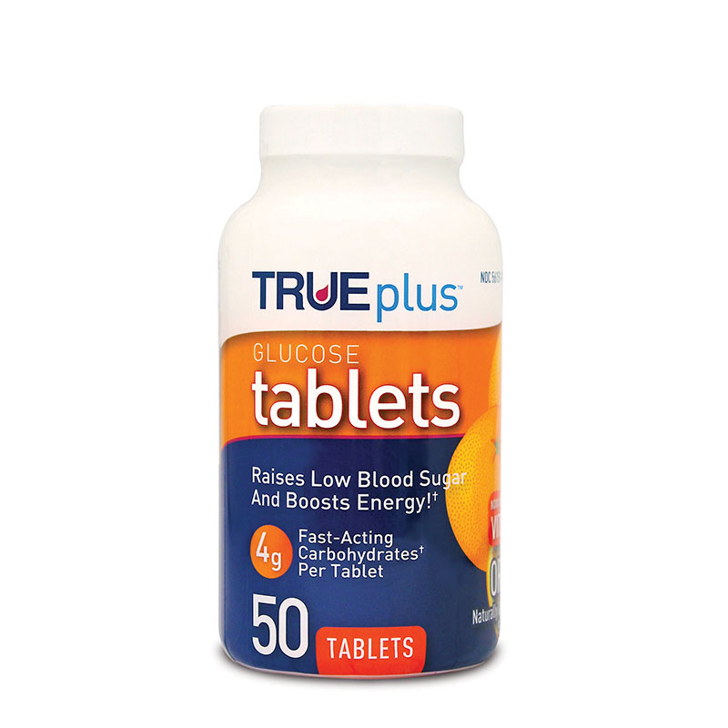 TRUEplus Glucose Tablets 4g Orange 50ct - Case of 3