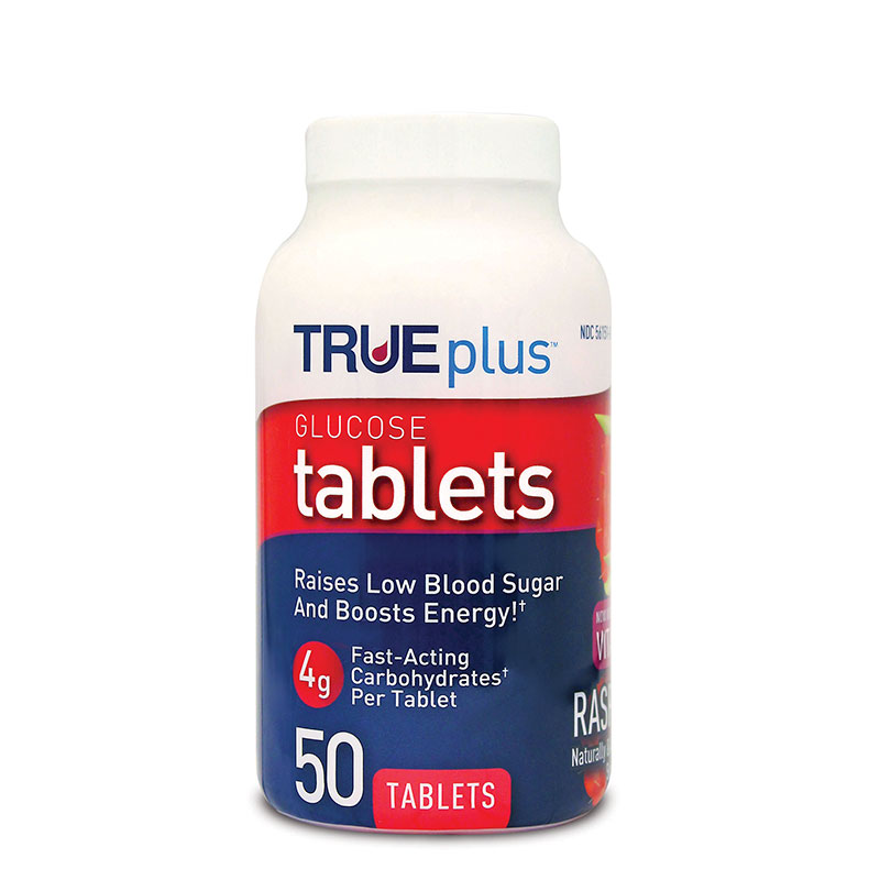 TRUEplus Glucose Tablets 4g Raspberry 50ct - Case of 3