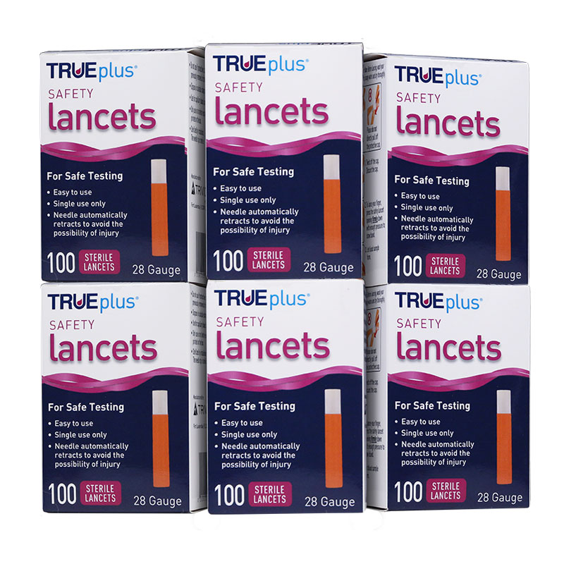 TRUEplus Safety Lancets 28G Single Use 100/box Pack of 6
