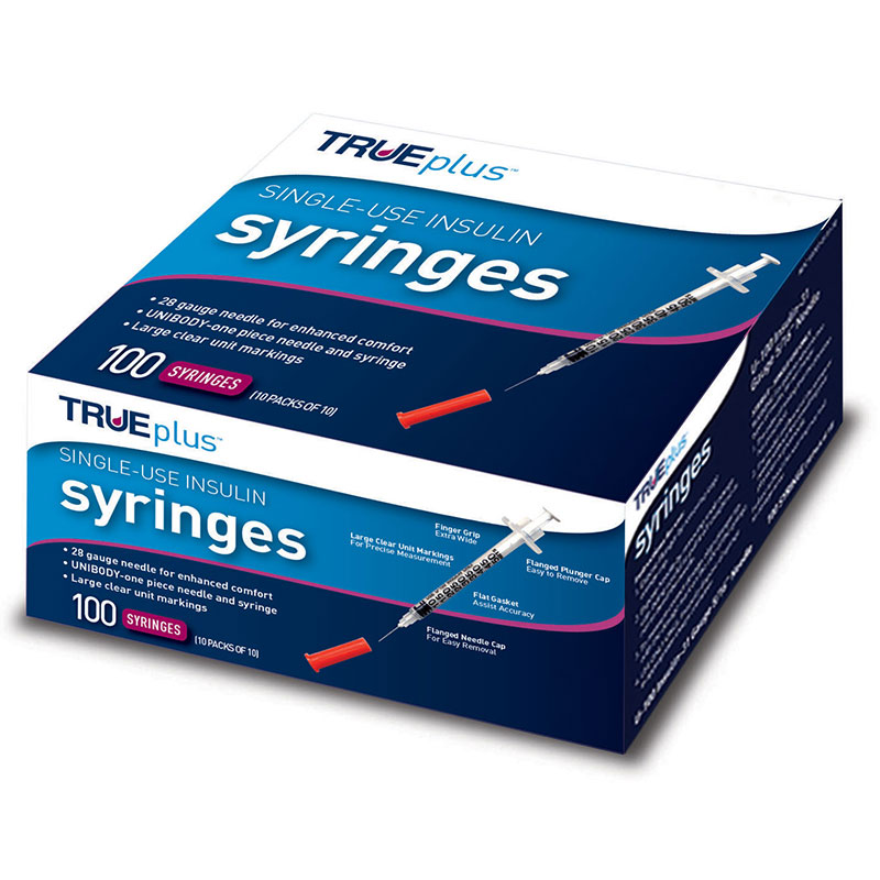 TRUEplus U-100 Insulin Syringes 28G 1cc 1/2 inch 100/box