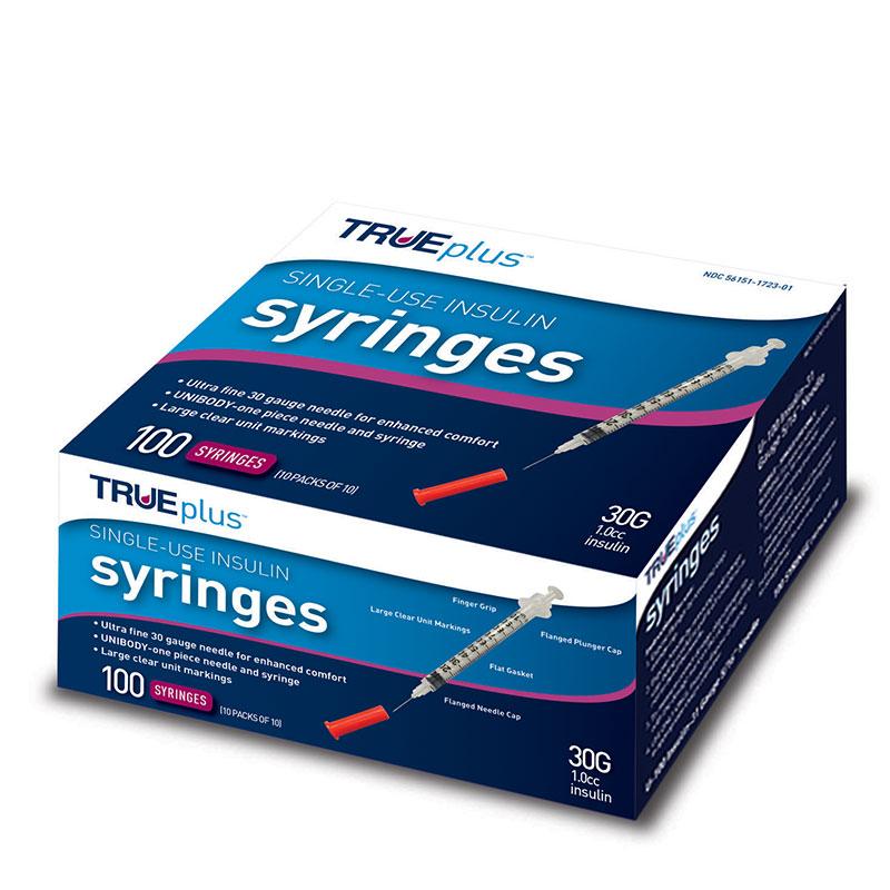 TRUEplus U-100 Insulin Syringes 30G 1cc 5/16