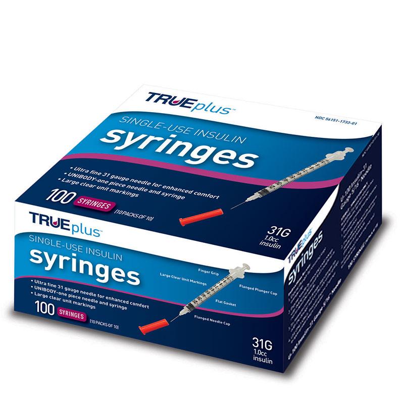 TRUEplus U-100 Insulin Syringes 31G 1cc 5/16