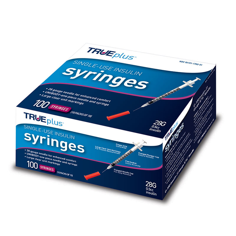 TRUEplus U-100 Insulin Syringes 28G 1/2cc 1/2 inch 100/box