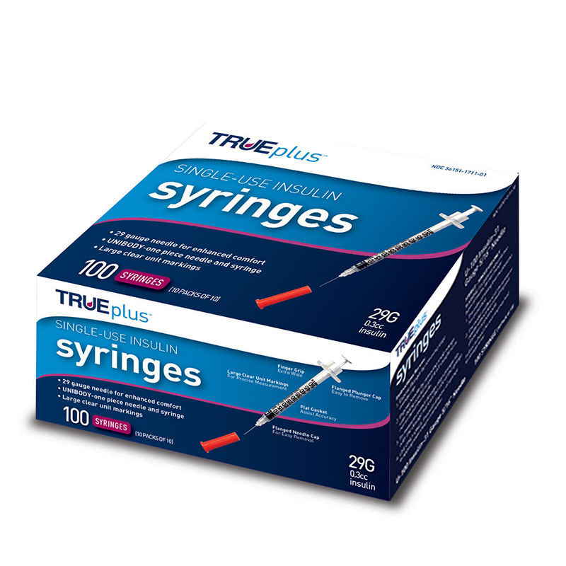 TRUEplus U-100 Syringes 29G 3/10cc 1/2 inch - 100ct Case of 5