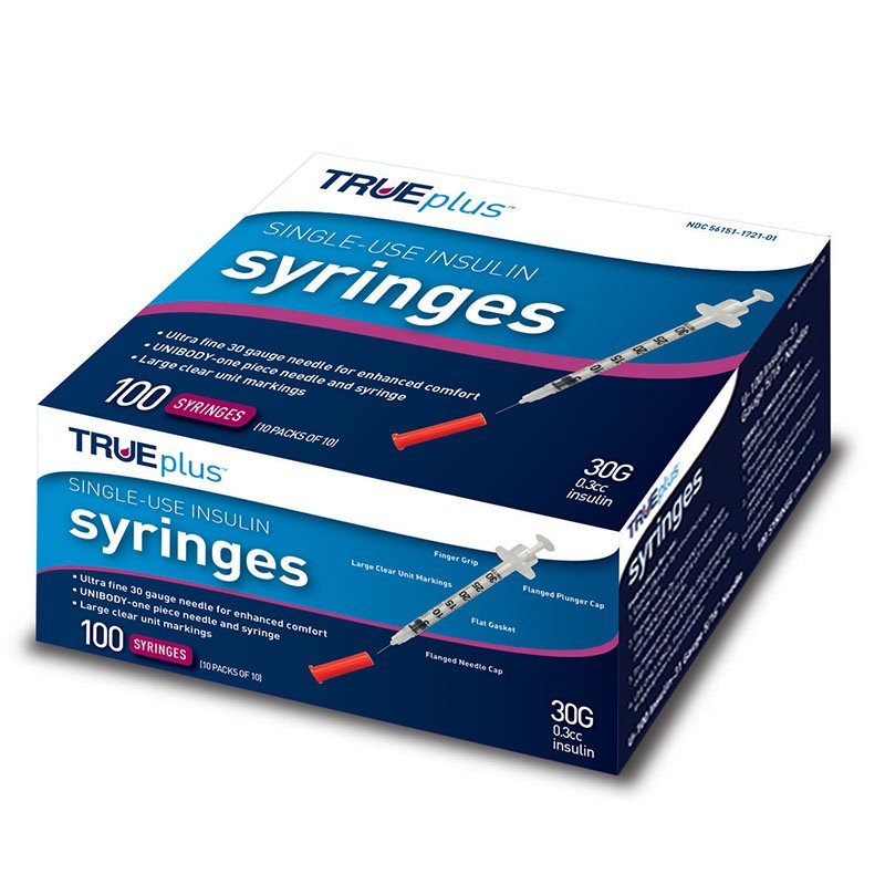 TRUEplus U-100 Syringes 30G 3/10cc 5/16 inch - 100ct Case of 5
