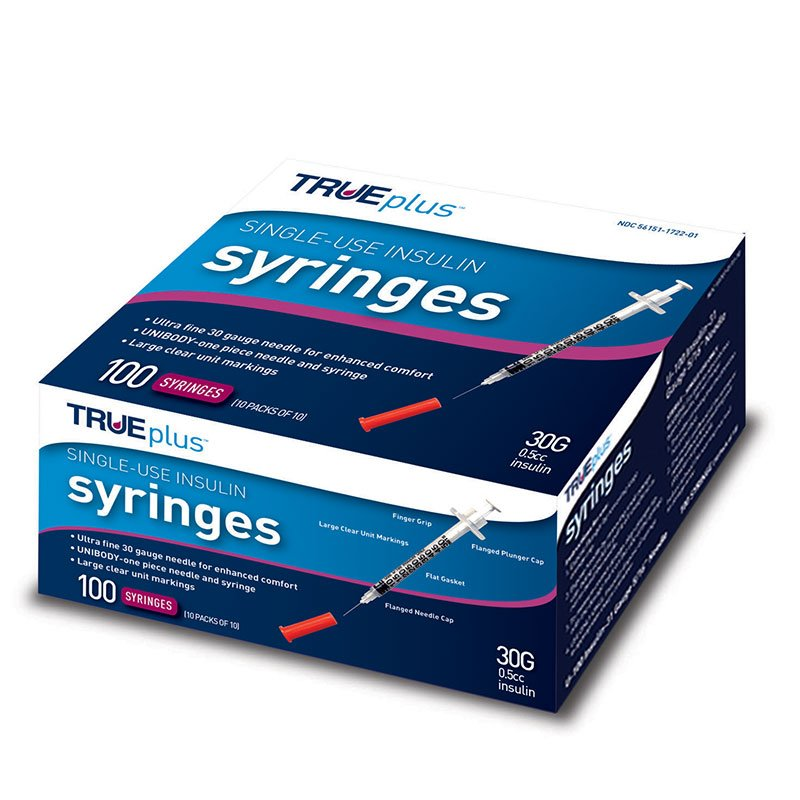 TRUEplus U-100 Insulin Syringes 30G 1/2cc 5/16 inch 100/box
