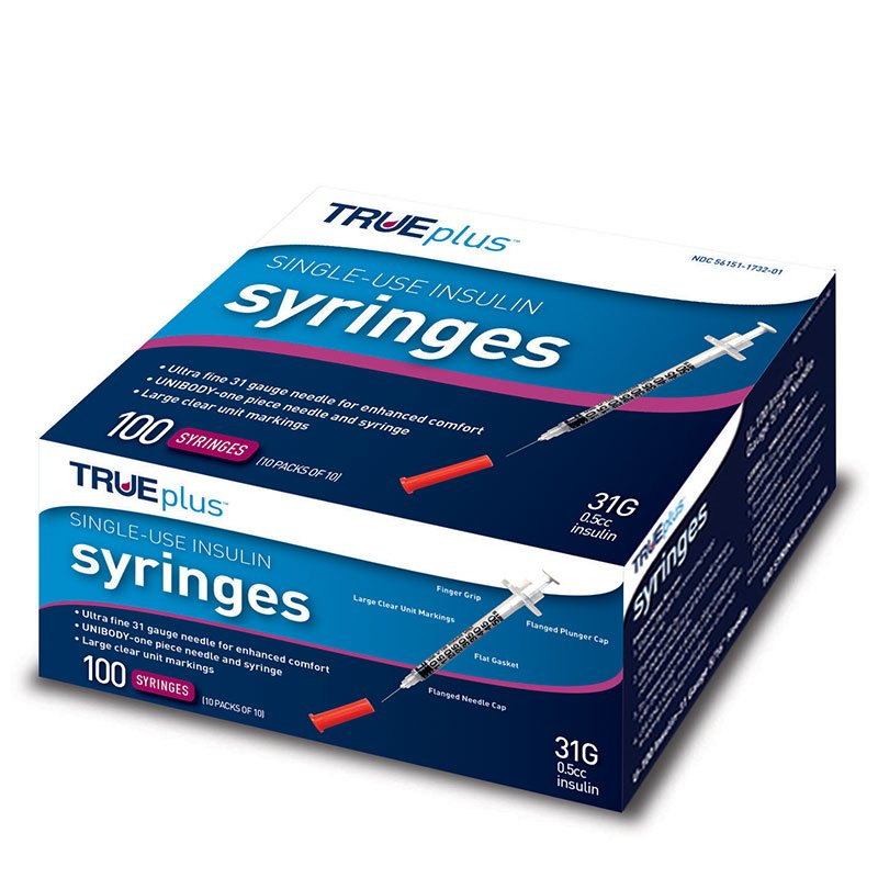 TRUEplus U-100 Insulin Syringes 31G 1/2cc 5/16 inch 100/box