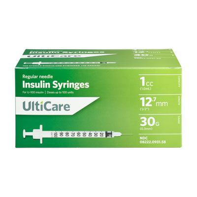 UltiCare Ulti-Fine U-100 Insulin Syringes 30g 1cc 1/2in 100/bx