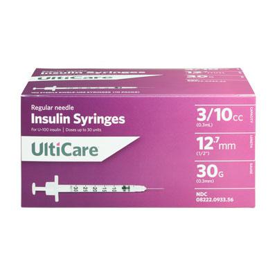 UltiCare U100 30G 0.3cc 0.5 inch Syringes 100/bx