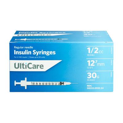 UltiCare U100 30G 0.5cc 0.5 inch Syringes 100/bx