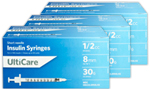 UltiCare UltiThin II U100 Insulin Syringes Short Needle 30g 1/2cc 5/16in 100/bx Case of 5