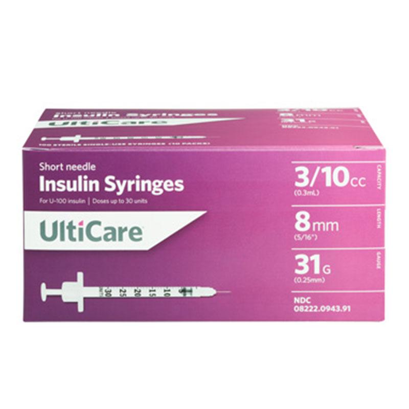 UltiCare Ulti-Fine II U-100 Syringes Short 31g 3/10cc 5/16in - Case of 5