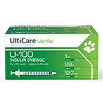 UltiCare U-100 Vet Rx Veterinary Insulin Syringes 28g 1cc 100/bx Case of 5