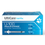 UltiCare U-100 Vet Rx Veterinary Insulin Syringes 28g 1/2cc 100/bx Case of 5
