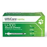 UltiCare U-100 Vet Rx Insulin Syringes 29g 1cc 1/2