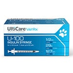 UltiCare U-100 Vet Rx Veterinary Insulin Syringes 29g 1/2cc 100/bx Case of 5