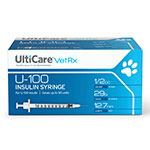UltiCare VetRx U-100 Insulin Syringes 29G, 1/2cc - Case of 5