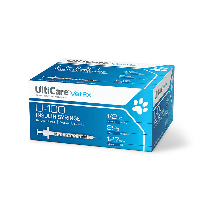 UltiCare VetRx U-100 Insulin Syringes 29G, 1/2cc - Case of 5