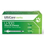 UltiCare Vet Rx U-100 Insulin Syringes - 28G, 1cc, 1/2