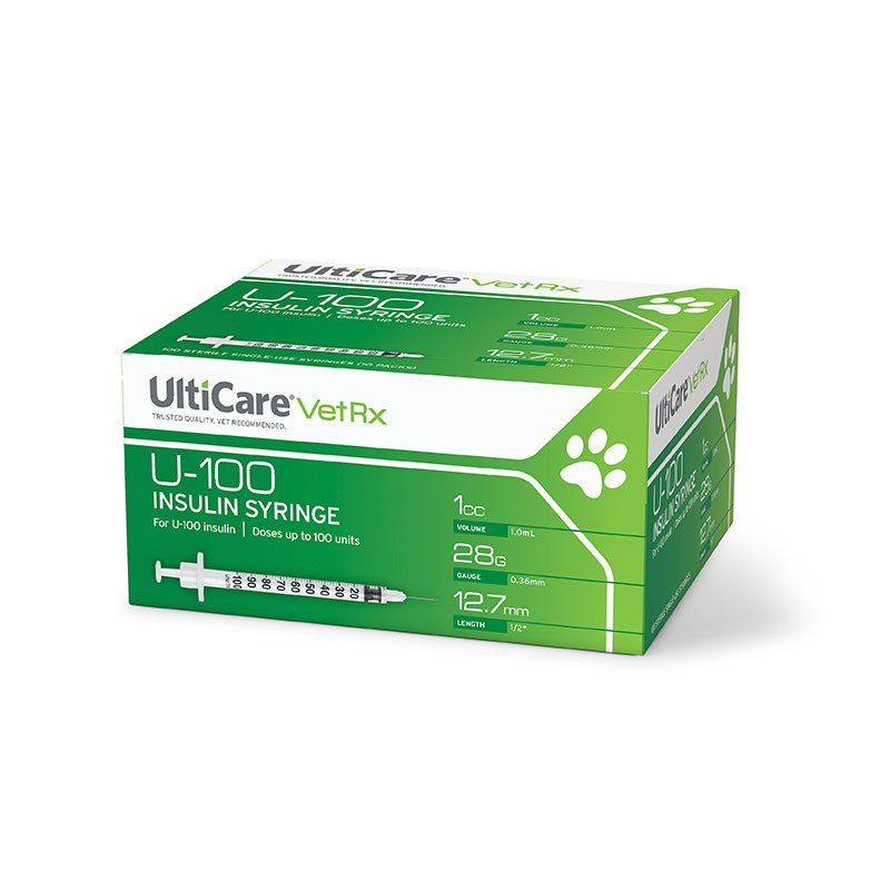 UltiCare Vet Rx U-100 Insulin Syringes 28G 1cc 1/2 inch 100ct