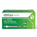 "UltiCare U-100 Vet Rx Insulin Syringes 29g 1cc 1/2"" - 100ct thumbnail"