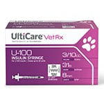 UltiCare U-100 Vet Rx HALF UNIT Insulin Syringes 31g 3/10cc 60ct