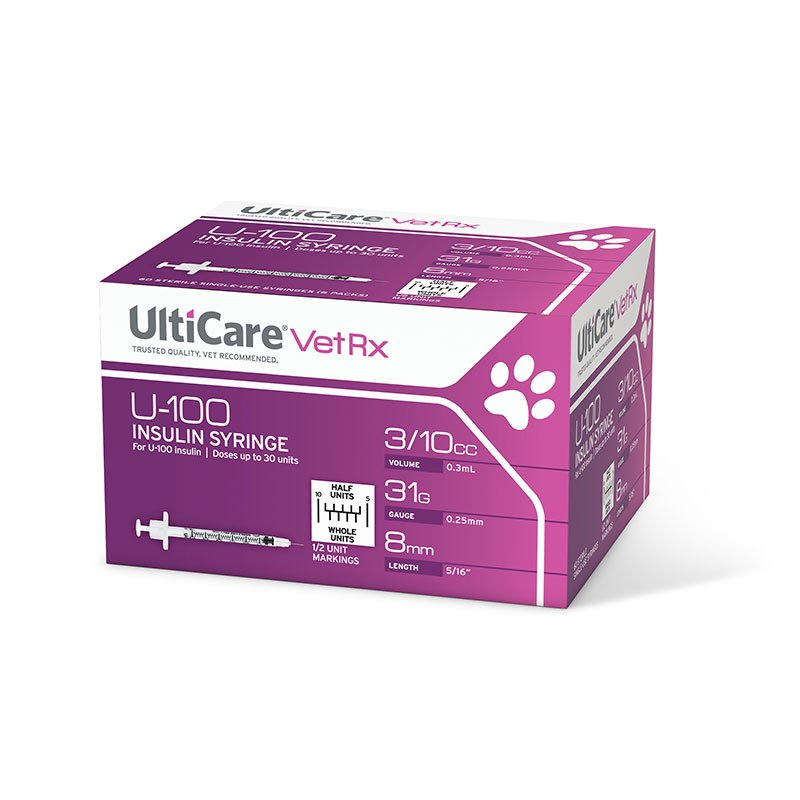 UltiCare U-100 Vet Rx HALF UNIT Insulin Syringes 31g 3/10cc 60/bx