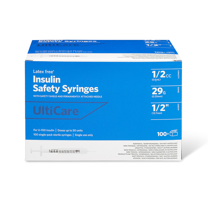 UltiCare Insulin Safety Syringe 1/2cc 29g 1/2