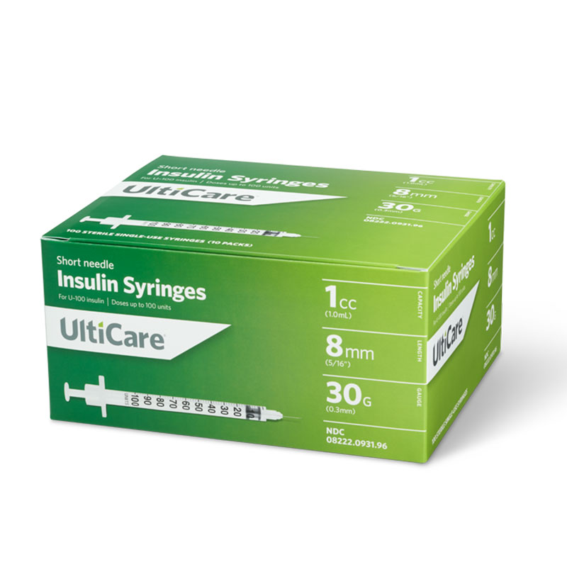 UltiCare II U-100 Insulin Syringes Short Needle 30G 1cc 5/16