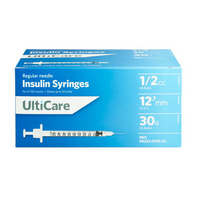 UltiCare U100 30G 0.5cc 0.5 inch Syringes 100/bx Pack of 5