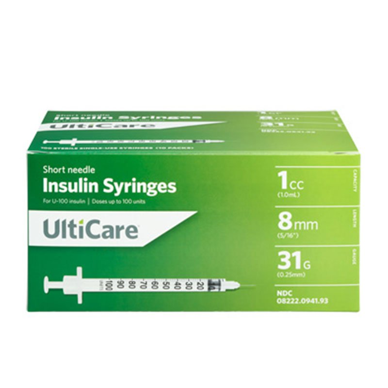 UltiCare II U-100 Insulin Syringes Short Needle 31G 1cc 5/16