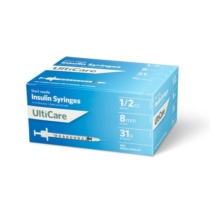 UltiCare U-100 Insulin Syringes Short Needle 31G 1/2cc 8mm 100 Count
