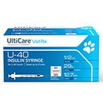 "UltiCare U-40 Pet Syringes 29G 1/2cc 1/2"" - Half Unit Mark Case of 5 thumbnail"