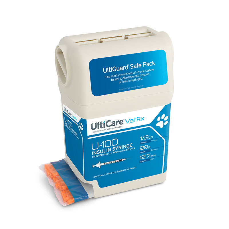 UltiCare UltiGuard U-100 VetRx Syringes 29g 1/2cc 1/2 inch - Case of 5