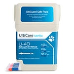 "UltiCare UltiGuard U-40 VetRx Veterinary Syringes 29g 1/2cc 1/2"" - Case of 5 thumbnail"