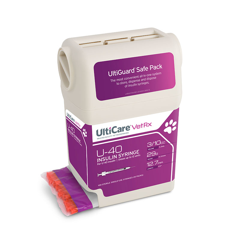 UltiGuard UltiCare U-40 VetRx Veterinary Insulin Syringes - 29 Gauge 3/10 cc 1/2 inch - Syringe Dispenser and Sharps Container - 100 per container
