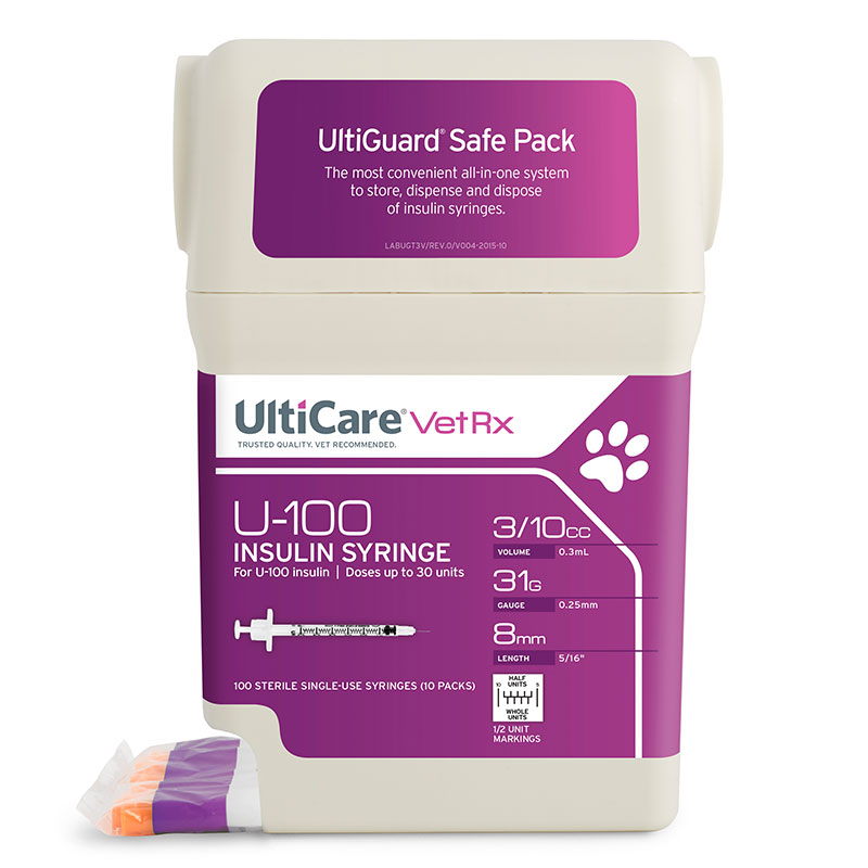 UltiCare UltiGuard U-100 Pet Syringes 31G 3/10cc 5/16