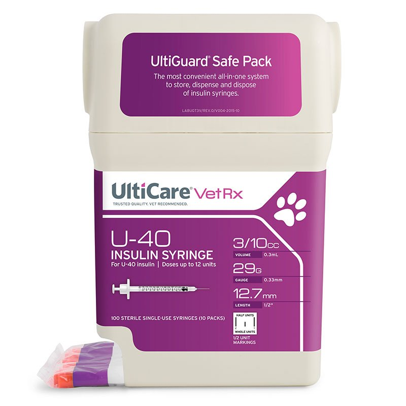 UltiCare UltiGuard U-40 Pet Syringes 29G 3/10cc 1/2 inch - Half Unit 5Case