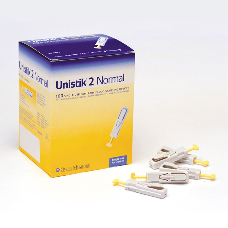 Owen Mumford Unistik 2 Normal Safety Lancets 100/bx AT0702 Pack of 3