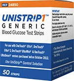 UniStrip 1 24850 Blood Glucose Test Strips 50/bx