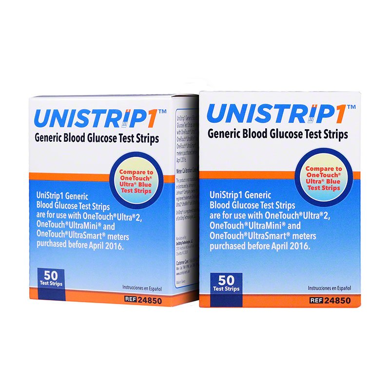 UniStrip 1 24850 Blood Glucose Test Strips 50/bx Case of 8