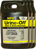 Urine Off Odor and Stain Remover for Cats - 1 Gallon Pack of 3