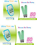 Vertex UltraTRAK Glucose Test Strips 100/bx